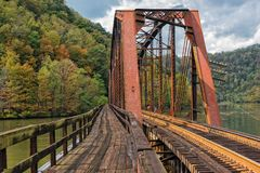 Free Railroad Trestle At Hawks Nest State Park In West Virginia Stock Photo - 106057630