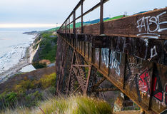 Arroyo Hondo. Railroad trestle over Arroyo Hondo on California coast royalty free stock photography