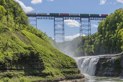Railroad Trestle & Upper Falls At Letchworth State Park Stock Photos
