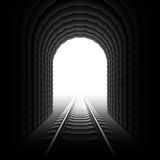 Railroad tunnel. Detailed vector illustration of a railroad at the end of a tunnel royalty free illustration