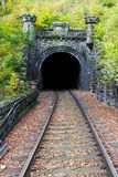 Railroad tunnel. In to the mountain Stock Image