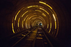 Railroad tunnel with lighting Stock Photos