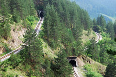Railroad tunnels. In tourist resort Mokra Gora in Serbia Stock Images