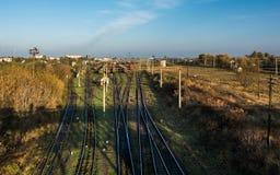 Railroad turnout point in Kovel, Ukraine. Railway transportation. Infrastructure Royalty Free Stock Photography