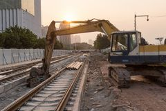Railroad under construction Royalty Free Stock Images