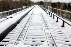 The railroad under snow Royalty Free Stock Photos