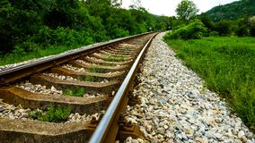 Railroad in the valley. This is photo of railroad in the valley Stock Photo