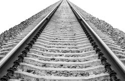 Railroad vanishing to horizon isolated on white background Royalty Free Stock Photos
