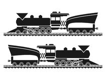 Railroad Vector background locomotive black Royalty Free Stock Images