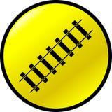 Railroad vector button. Vector button with a railroad symbol Stock Image