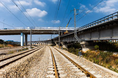 Railroad and viaduct Royalty Free Stock Images