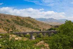 Railroad viaduct in Randazzo, Sicily Stock Photography