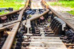 Railroad. View on a railroad, macro Royalty Free Stock Photography