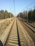 The railroad. The way in front of you. Journey and travelling by train Stock Image