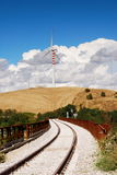 Railroad and wind turbines Stock Photography