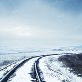 Railroad in winter Stock Photography