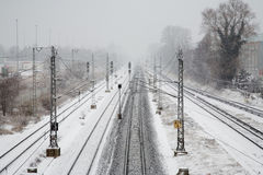 Railroad in winter Royalty Free Stock Images