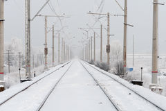 Railroad in Winter Royalty Free Stock Image