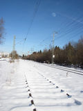 Railroad in winter. Piding, Germany Stock Images