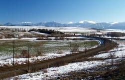 Railroad and winter prairie stock photos