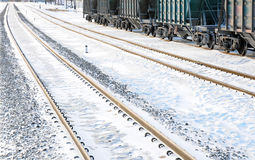 Railroad in winter. Railroad freight cars are ready to be sent. Railroad in winter. Railroad freight cars are ready to be sent Stock Photo