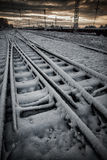 Railroad in winter Stock Images