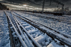 Railroad in winter Royalty Free Stock Photo