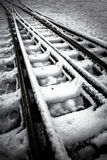 Railroad in winter. Skopje Macedonia Royalty Free Stock Images