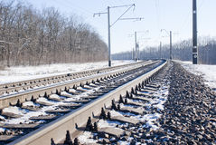 Railroad at winter time. Railroad tracks at winter time Stock Images