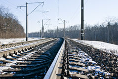 Railroad at winter time Stock Photos