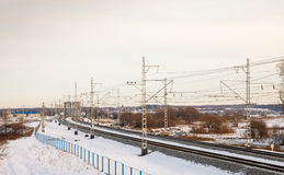 Railroad in the winter Royalty Free Stock Photos