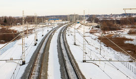 Railroad in the winter Royalty Free Stock Photo