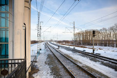 Railroad in the winter Stock Photos