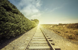 Free Railroad With Light Leak Stock Photography - 55987542