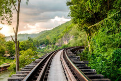 Railroad wood history world war II famous. At kanchanaburi Stock Image