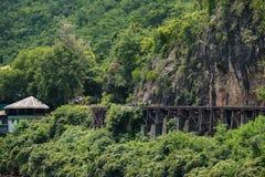 Railroad wood history world war II in river kwai Stock Images