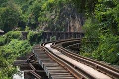 Railroad wood history world war II in river kwai Stock Photo