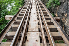 Railroad wooden clsoe up history of world war II. In river kwai at kanchanaburi,thailand Royalty Free Stock Photography