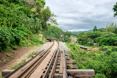 Railroad wooden history of world war II. In river kwai at kanchanaburi,thailand Stock Images