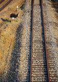 Railroad on wooden sleeper. Old single railroad on wooden sleeper in Thailand Stock Image