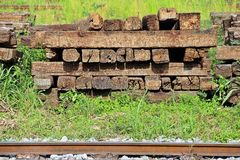 Railroad wooden track ties. Wooden track ties putting beside railroad for repairing Royalty Free Stock Image
