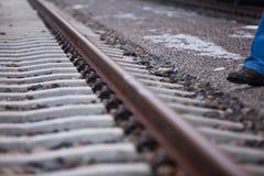 Railroad worker beside splint Stock Photos