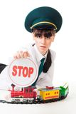 Railroad worker with stop sign Royalty Free Stock Photography