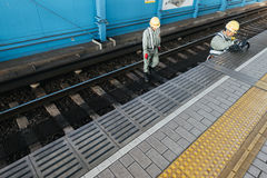 Railroad Workers in Osaka. stock photo