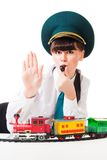 Railroad workers strike. Woman railroad worker show stop gesture informing about strike Royalty Free Stock Image