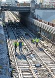 Railroad works stock photography