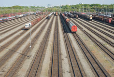 Railroad Yard with New Automobiles Royalty Free Stock Images