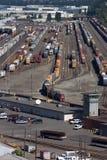 Railroad yard in Portland, Oregon. Railroad yard filled with trains in Portland, Oregon Royalty Free Stock Photos