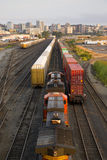 Railroad Yards Boxcars Cargo Containers Train Tracks Downtown stock photography