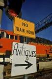 Railroadand antique signs Stock Photo